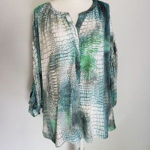 Jennifer Lopez Green/Blue Alligator skin top